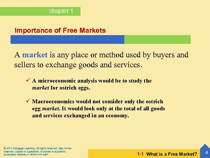 chapter 1 Importance of Free Markets A market is any place or method used