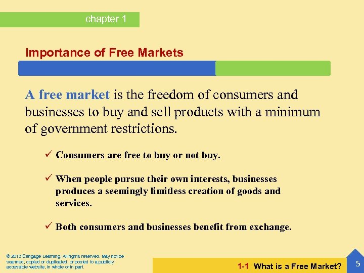chapter 1 Importance of Free Markets A free market is the freedom of consumers