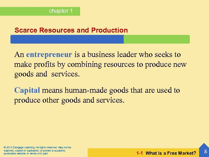 chapter 1 Scarce Resources and Production An entrepreneur is a business leader who seeks