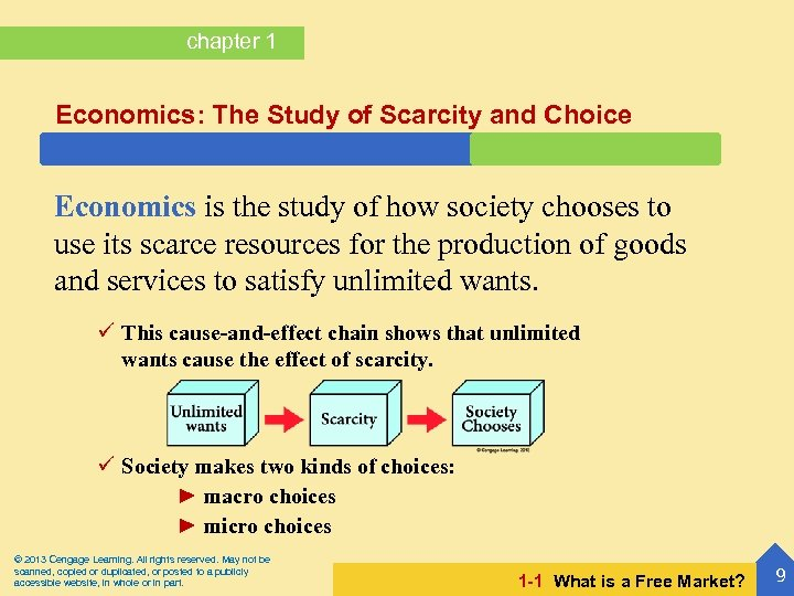 chapter 1 Economics: The Study of Scarcity and Choice Economics is the study of