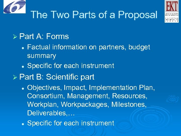 The Two Parts of a Proposal Ø Part A: Forms l l Factual information