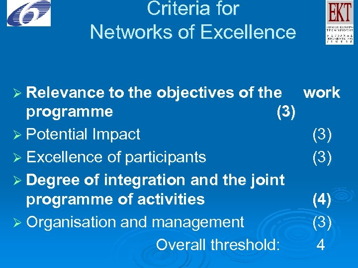 Criteria for Networks of Excellence Ø Relevance to the objectives of the work programme