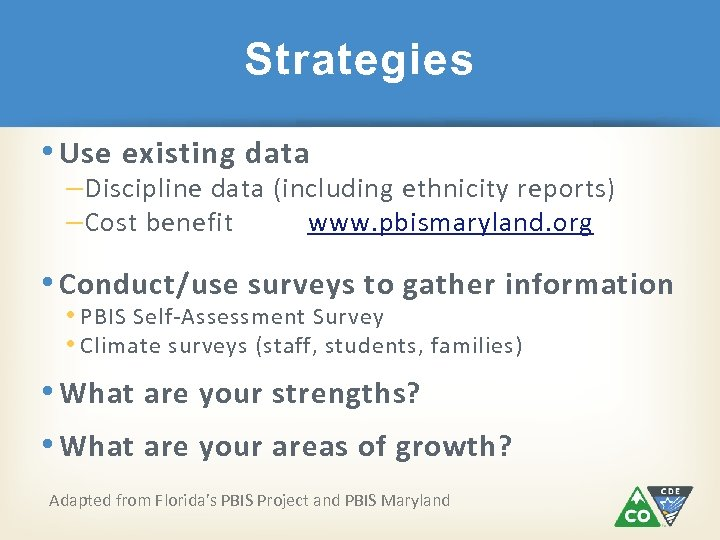 Strategies • Use existing data – Discipline data (including ethnicity reports) – Cost benefit