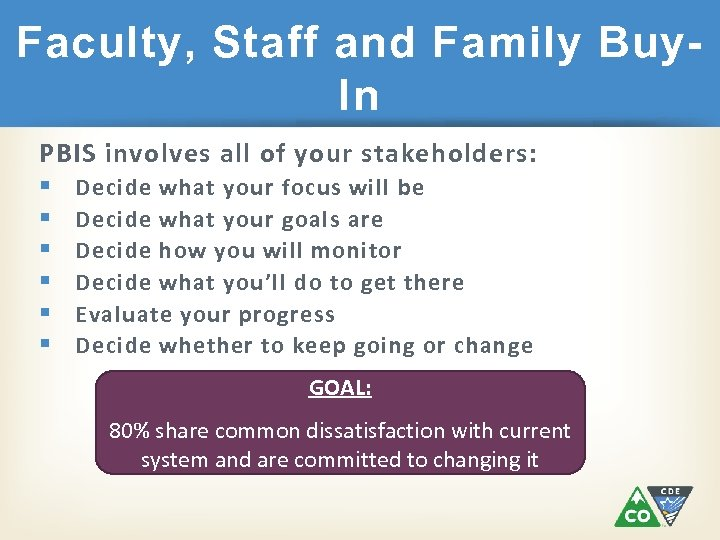 Faculty, Staff and Family Buy. In PBIS involves all of your stakeholders: § Decide