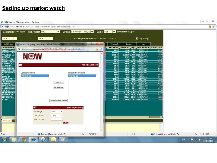 Setting up market watch