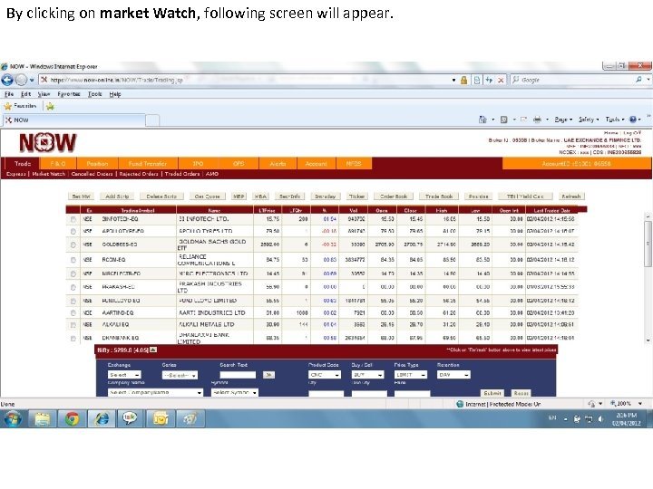 By clicking on market Watch, following screen will appear.