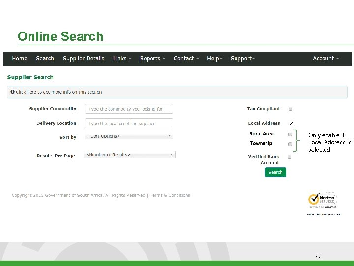 Online Search Only enable if Local Address is selected 17