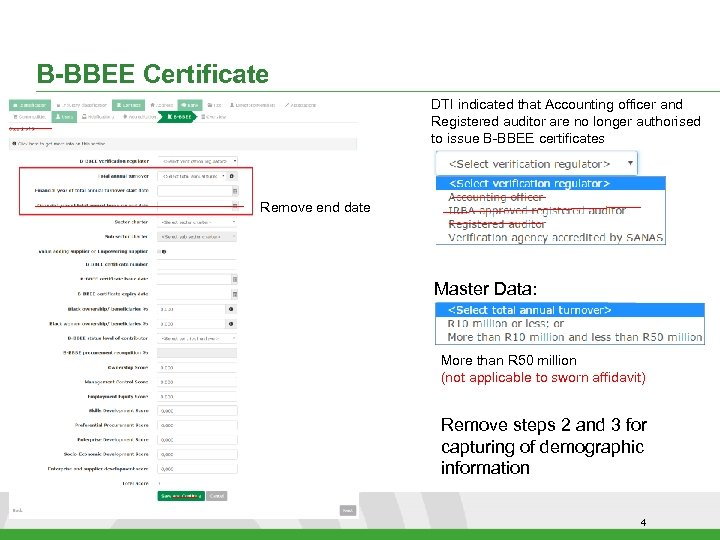 B-BBEE Certificate DTI indicated that Accounting officer and Registered auditor are no longer authorised