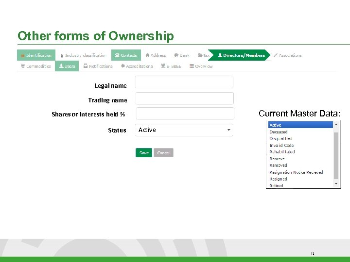 Other forms of Ownership Legal name Trading name Current Master Data: Shares or interests