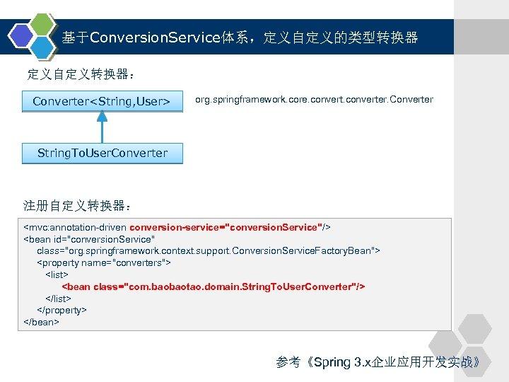 基于Conversion. Service体系,定义自定义的类型转换器 定义自定义转换器: Converter<String, User> org. springframework. core. converter. Converter String. To. User. Converter