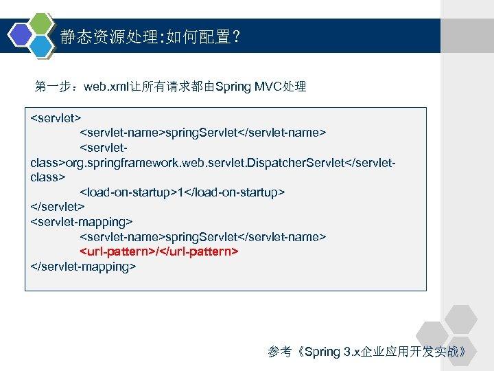 静态资源处理: 如何配置? 第一步:web. xml让所有请求都由Spring MVC处理 <servlet> <servlet-name>spring. Servlet</servlet-name> <servletclass>org. springframework. web. servlet. Dispatcher. Servlet</servletclass>