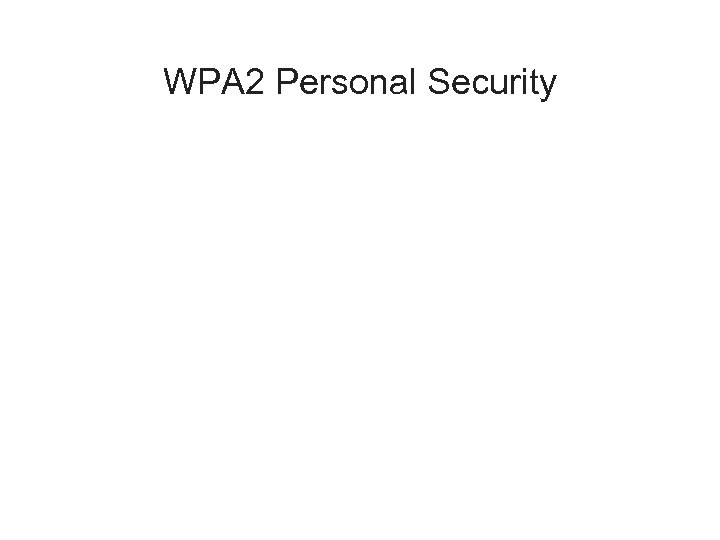 WPA 2 Personal Security