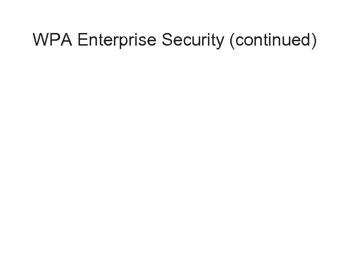 WPA Enterprise Security (continued)