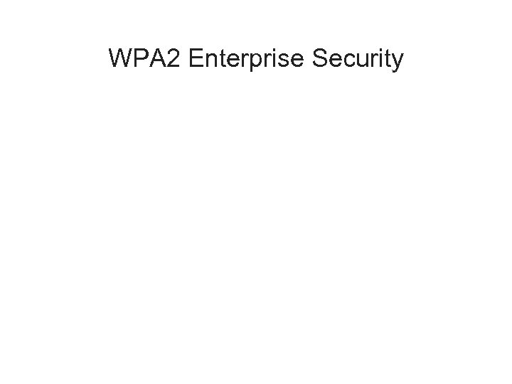 WPA 2 Enterprise Security