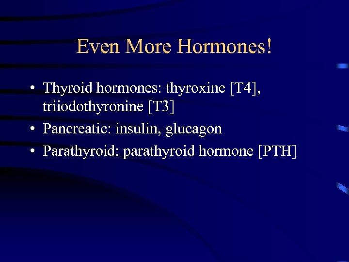 Even More Hormones! • Thyroid hormones: thyroxine [T 4], triiodothyronine [T 3] • Pancreatic: