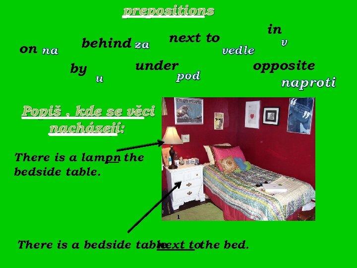 prepositions on na behind za by u next to under in vedle pod Popiš