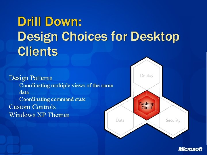 Drill Down: Design Choices for Desktop Clients Design Patterns Coordinating multiple views of the
