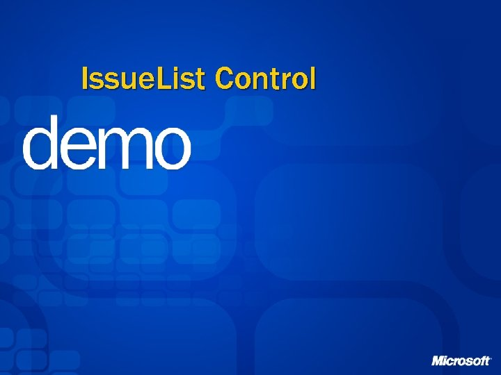 Issue. List Control