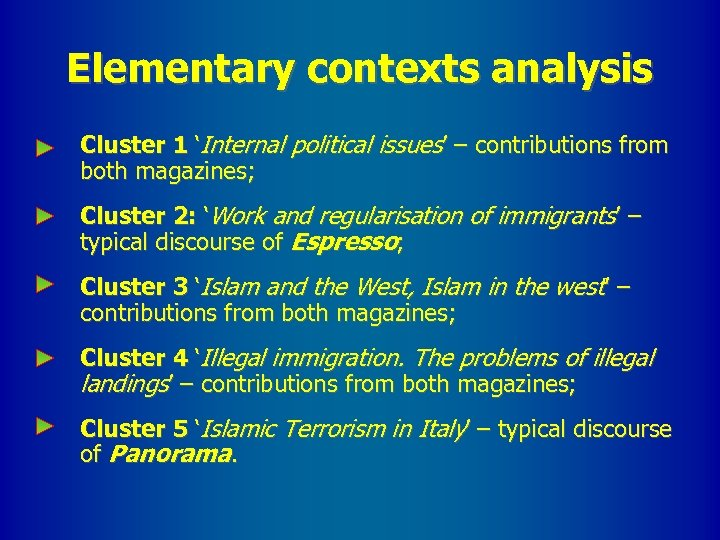 Elementary contexts analysis Cluster 1 'Internal political issues' – contributions from both magazines; Cluster