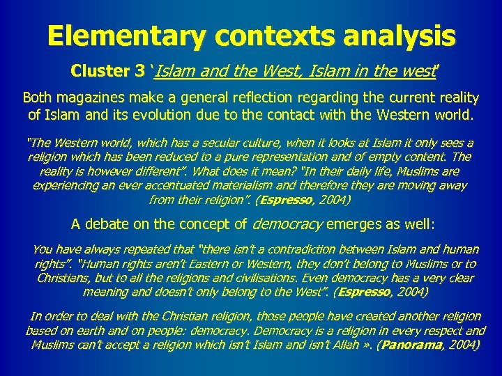 Elementary contexts analysis Cluster 3 'Islam and the West, Islam in the west' Both