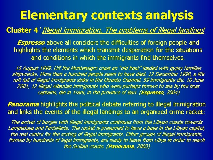Elementary contexts analysis Cluster 4 'Illegal immigration. The problems of illegal landings ' Espresso