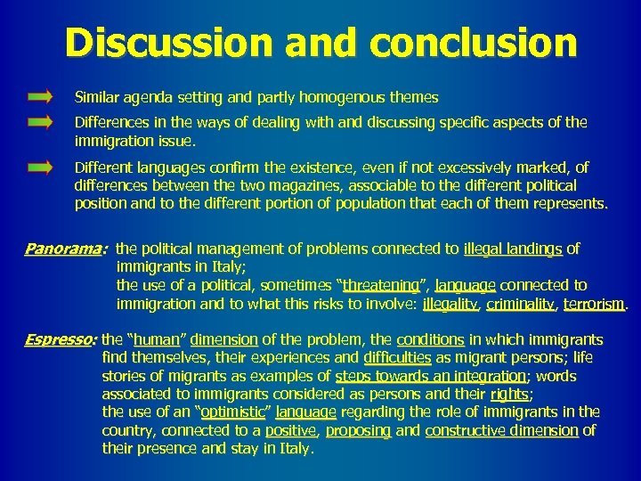 Discussion and conclusion Similar agenda setting and partly homogenous themes Differences in the ways
