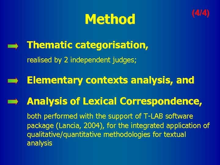 Method (4/4) Thematic categorisation, realised by 2 independent judges; Elementary contexts analysis, and Analysis