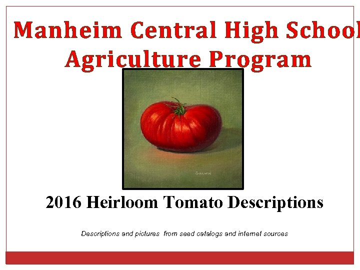 Manheim Central High School Agriculture Program 2016 Heirloom Tomato Descriptions and pictures from seed