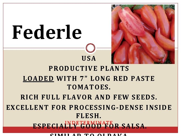 Federle USA PRODUCTIVE PLANTS LOADED WITH 7
