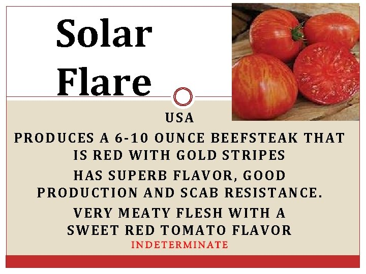 Solar Flare USA PRODUCES A 6 -10 OUNCE BEEFSTEAK THAT IS RED WITH GOLD