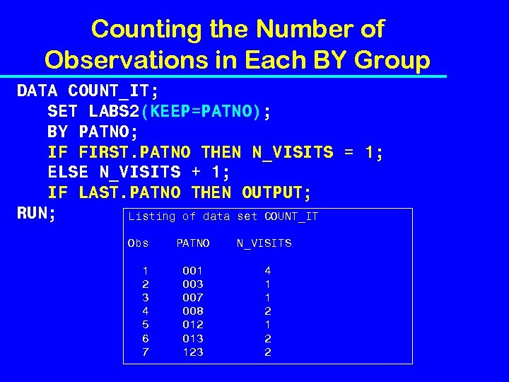 Counting the Number of Observations in Each BY Group DATA COUNT_IT; SET LABS 2(KEEP=PATNO);