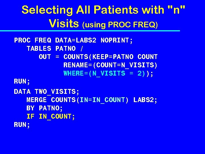 Selecting All Patients with
