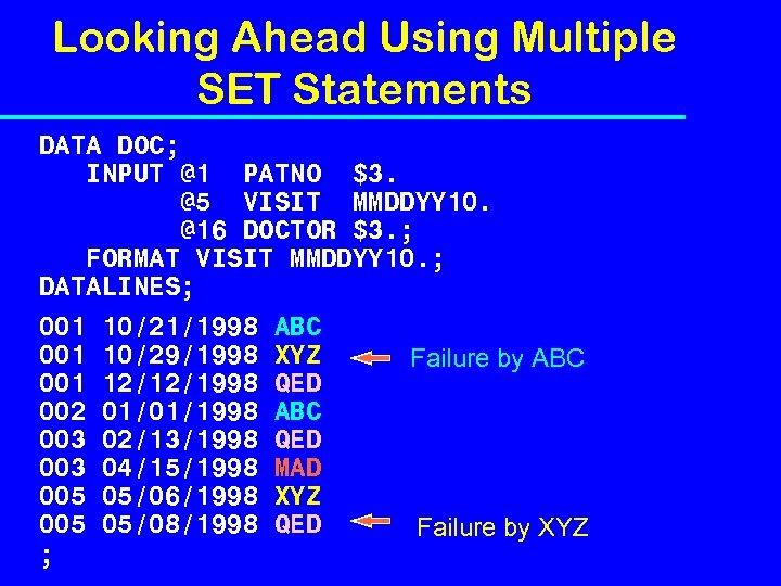 Looking Ahead Using Multiple SET Statements DATA DOC; INPUT @1 PATNO $3. @5 VISIT