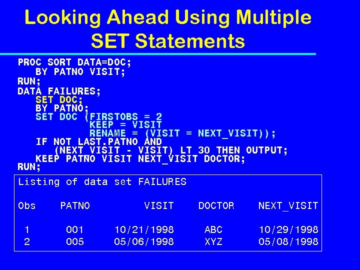 Looking Ahead Using Multiple SET Statements PROC SORT DATA=DOC; BY PATNO VISIT; RUN; DATA