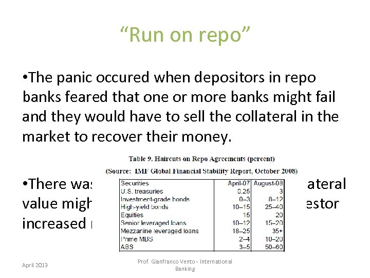 """""""Run on repo"""" • The panic occured when depositors in repo banks feared that"""