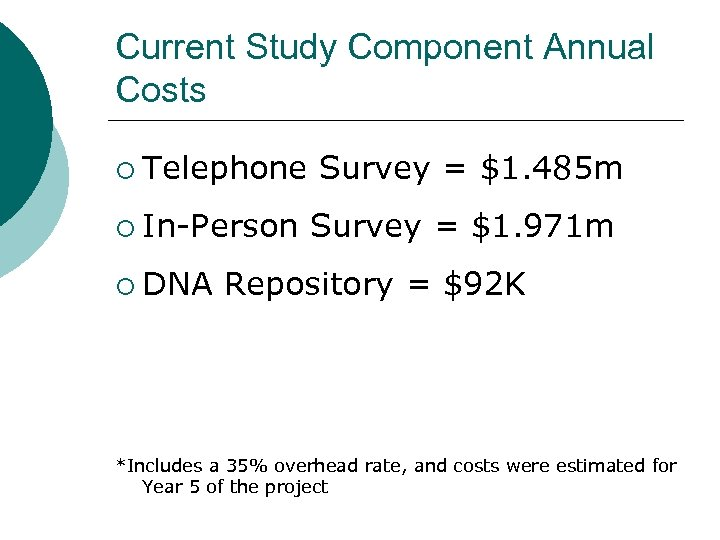 Current Study Component Annual Costs ¡ Telephone Survey = $1. 485 m ¡ In-Person