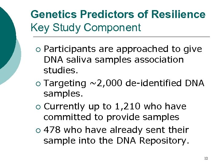Genetics Predictors of Resilience Key Study Component Participants are approached to give DNA saliva