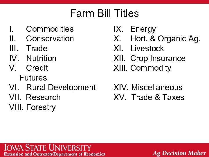 Farm Bill Titles I. III. IV. V. Commodities Conservation Trade Nutrition Credit Futures VI.