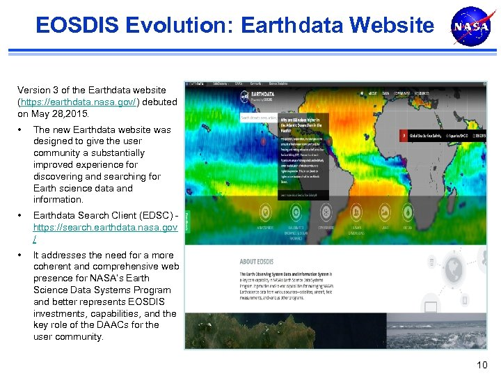 EOSDIS Evolution: Earthdata Website Version 3 of the Earthdata website (https: //earthdata. nasa. gov/)