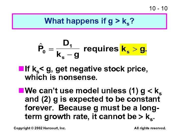 10 - 10 What happens if g > ks? n If ks< g, get