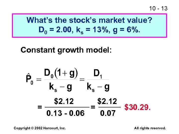 10 - 13 What's the stock's market value? D 0 = 2. 00, ks