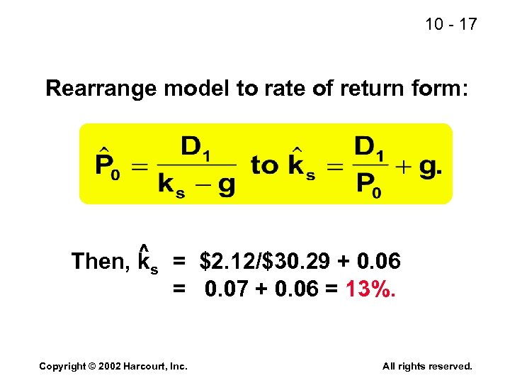 10 - 17 Rearrange model to rate of return form: ^ Then, ks =