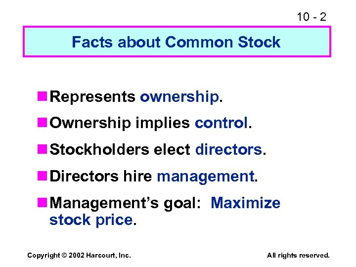 10 - 2 Facts about Common Stock n Represents ownership. n Ownership implies control.