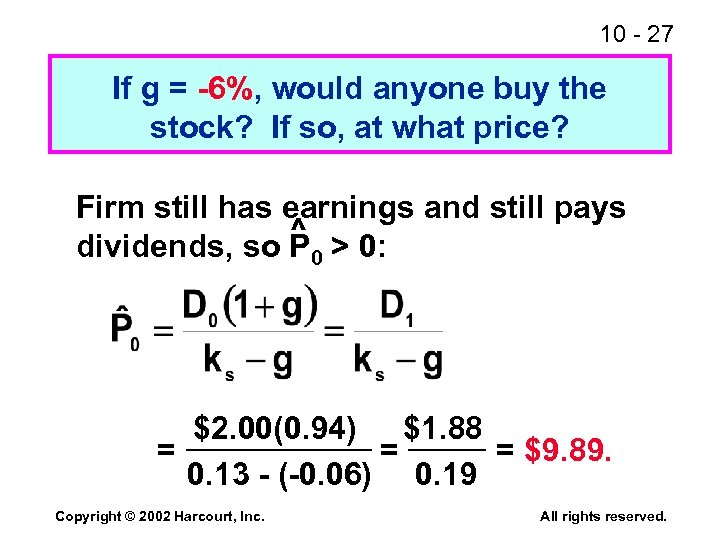 10 - 27 If g = -6%, would anyone buy the stock? If so,