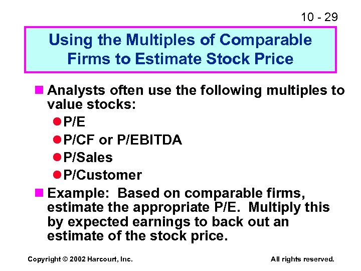 10 - 29 Using the Multiples of Comparable Firms to Estimate Stock Price n