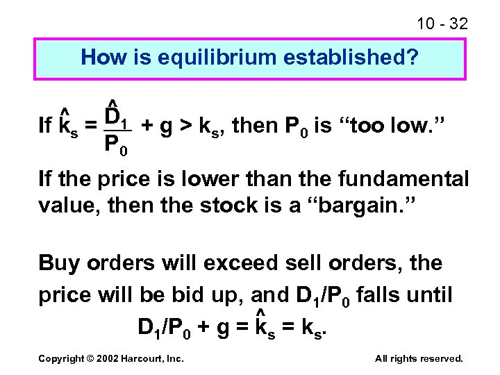10 - 32 How is equilibrium established? ^ If ks = D 1 +