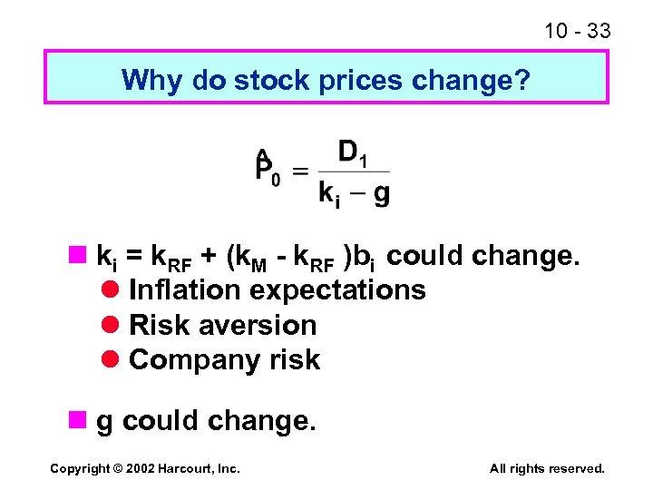 10 - 33 Why do stock prices change? ^ n ki = k. RF