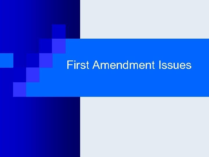 First Amendment Issues