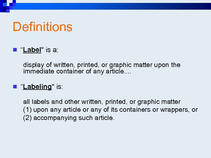 "Definitions n ""Label"