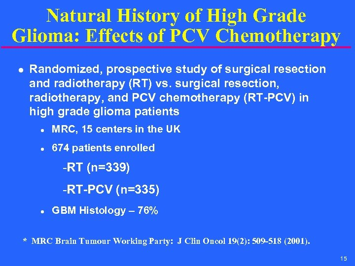 Natural History of High Grade Glioma: Effects of PCV Chemotherapy l Randomized, prospective study
